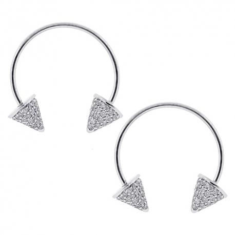 Womens Diamond Double Spike Drop Earrings 14K White Gold 1.30 ct