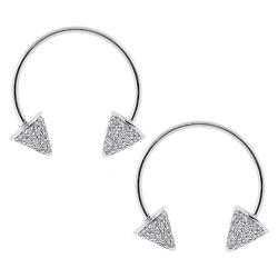 14K White Gold 1.30 ct Diamond Spike Womens Drop Earrings