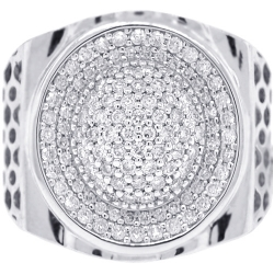 18K Two Tone Gold 1.20 ct Diamond Pave Mens Ring