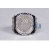 Mens Diamond Pave Oval Pinky Ring 18K Two Tone Gold 1.20 ct