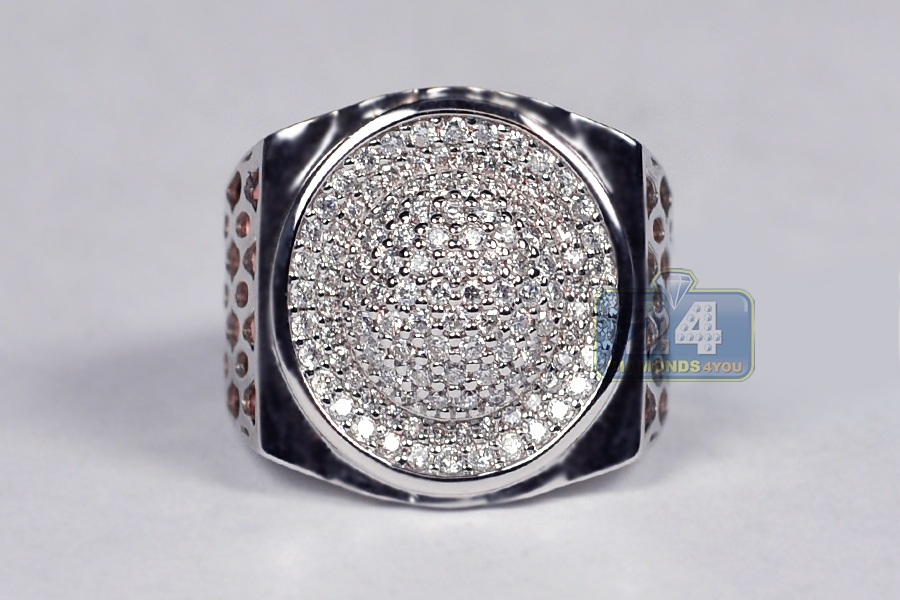 Mens Diamond Pave Oval Pinky Ring 18k Two Tone Gold 1 20 Ct