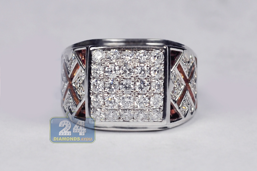 Mens Diamond Square Pinky Ring 18k Two Tone Gold 1 63 Ct