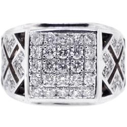 18K Two Tone Gold 1.63 ct Diamond Mens Signet Ring
