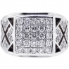 Mens Diamond Square Pinky Ring 18K Two Tone Gold 1.63 ct