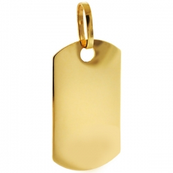 Solid 10K Yellow Gold Personalized Dog Tag Mens Pendant
