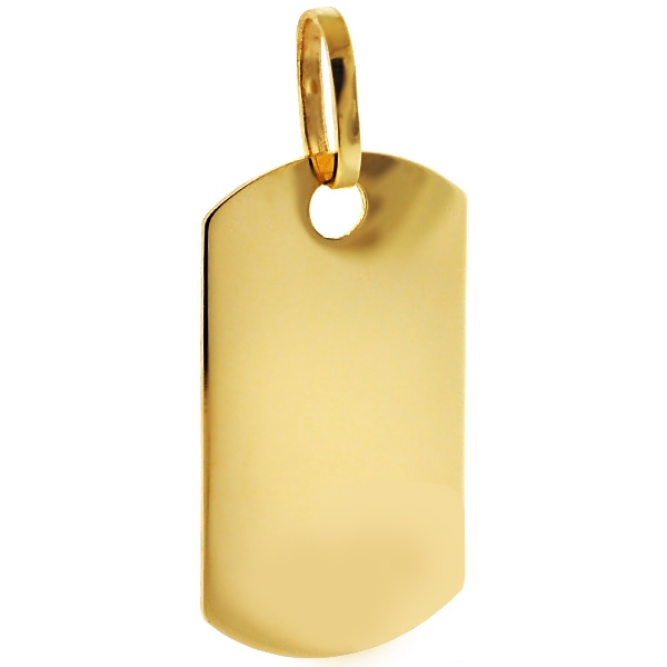 Well-liked 10K Yellow Gold ID Dog Tag Mens Pendant JW22