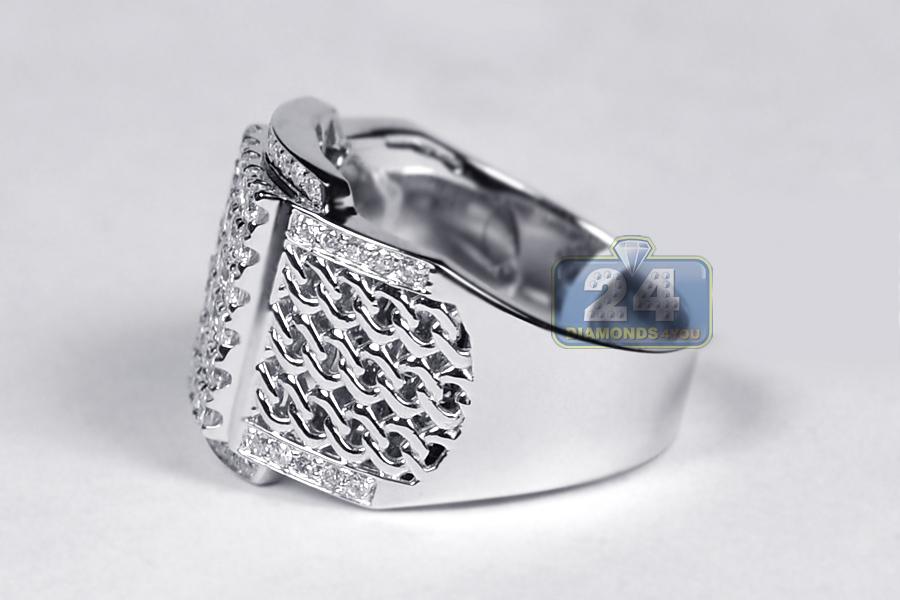 mens diamond rectangle pinky ring 18k white gold 151 carat