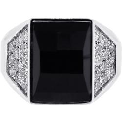 Mens Diamond Black Onyx Rectangle Ring 18K White Gold 0.90 ct