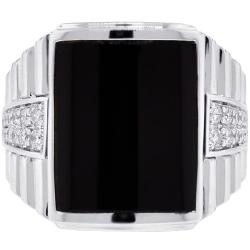 Mens Diamond Onyx Rectangle Step Ring 18K White Gold 0.53 ct