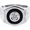 Mens Diamond Onyx Solitaire Pinky Ring 18K White Gold 0.70 ct