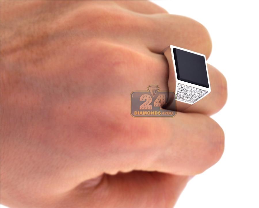 Mens Diamond Onyx Trapezoid Pinky Ring 18k White Gold 0 70 Ct