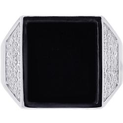 Mens Diamond Onyx Trapezoid Pinky Ring 18K White Gold 0.70 ct