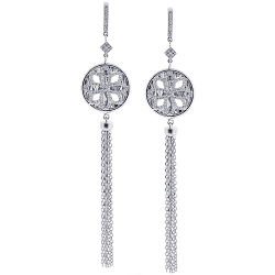 Womens Diamond Mesh Dangle Earrings 18K White Gold 0.90 ct 4""