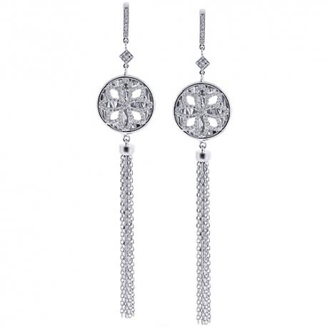 """Womens Diamond Mesh Dangle Earrings 18K White Gold 0.90 ct 4"""""""