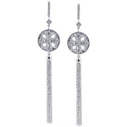 18K White Gold 0.90 ct Diamond Womens Dangle Earrings
