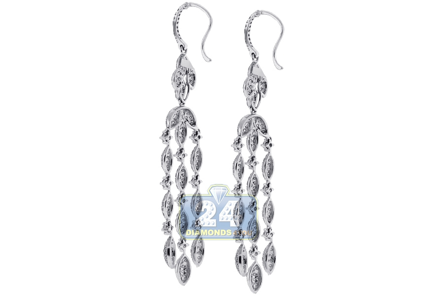 Womens diamond chandelier drop earrings 14k white gold 536 ct aloadofball Choice Image