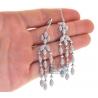 Womens Diamond Chandelier Drop Earrings 14K White Gold 5.36 ct