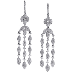 Womens Diamond Chandelier Drop Earrings 14K White Gold 5.36 ct