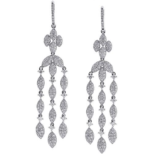 Diamond chandelier drop earrings 14k white gold 536 ct womens diamond chandelier drop earrings 14k white gold 536 ct aloadofball Gallery
