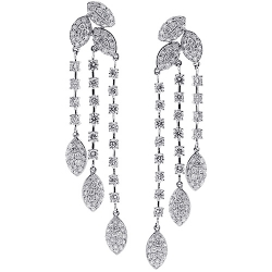 Womens Diamond Chandelier Drop Earrings 18K White Gold 6.72 ct