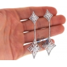 Womens Diamond Dangle Kite Earrings 18K White Gold 5.89 ct 3""