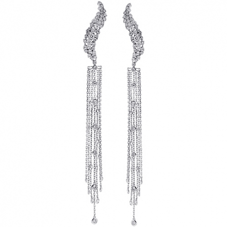 Womens Diamond Long Dangle Earrings 14K White Gold 2.65 ct 5 Inch