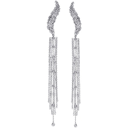 14K White Gold 2.65 ct Diamond Dangle Mesh Earrings 5 Inches