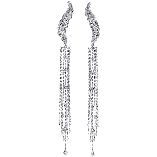 Womens Diamond Long Dangle Earrings 14K White Gold 2.65 ct 5 Inch cd50b078b5