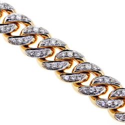Mens Diamond Miami Cuban Link Chain 14K Yellow Gold 8mm 28""