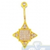 14K Yellow Gold 0.75 ct Mixed Diamond Womens Square Star Belly Ring