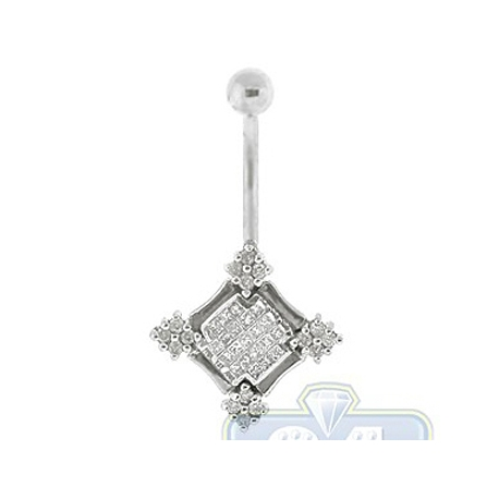 14K White Gold 1.30 ct Diamond Square Vintage Womens Belly Ring