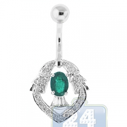 14K White Gold Diamond Green Emerald Womens Vintage Belly Ring