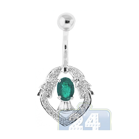 14K White Gold 0.70 ct Diamond Emerald Womens Belly Ring