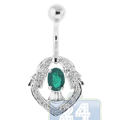 14k white gold 0 70 ct emerald womens belly ring