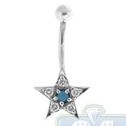 14K White Gold 0.25 ct Diamond Blue Sapphire Star Shape Womens Belly Ring