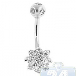 14K White Gold 0.90 ct Diamond Cluster Flower Womens Belly Ring