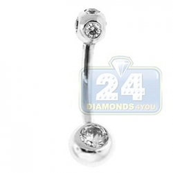 14K White Gold 0.75 ct Bezel Set Diamond Womens Belly Ring