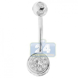 14K White Gold 0.50 ct Diamond Illusion Womens Belly Ring
