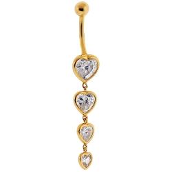 14K Yellow Gold Four Hearts CZ Womens Dangle Belly Ring