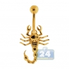 14K Yellow Gold Scorpion Womens Belly Navel Ring