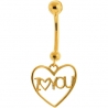 14K Yellow Gold I Love You Heart Womens Belly Ring