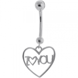 14K White Gold I Love You Heart Womens Belly Ring