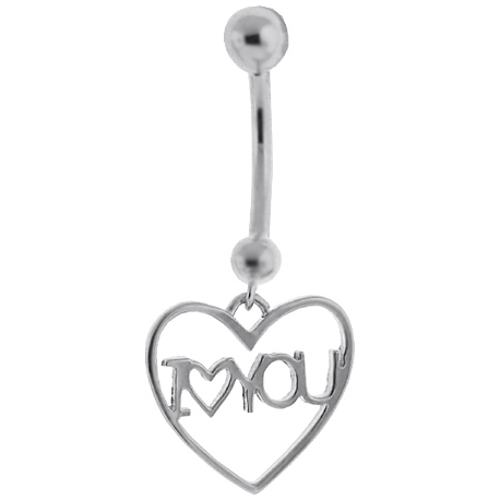 White Gold I Love You Heart Womens Belly Ring
