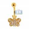14K Yellow Gold CZ Butterfly Womens Belly Ring
