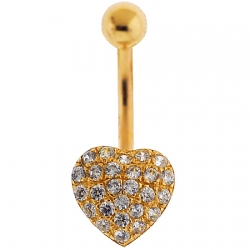 14K Yellow Gold CZ Heart Womens Belly Button Ring