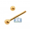 14K Yellow Gold 16 Gauge Straight Barbell Eyebrow Ring