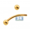 14K Yellow Gold 16 Gauge Curved Eyebrow Ring