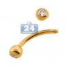 14K Yellow Gold CZ 16 Gauge Curved Eyebrow Ring