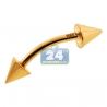 14K Yellow Gold 16 Gauge Spike Curved Eyebrow Ring