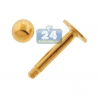 14K Yellow Gold 14 Gauge Ball Labret Stud